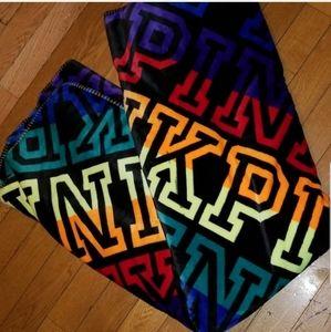 """Sherpa RAINBOW Blanket """"PINK"""" Nwot"""